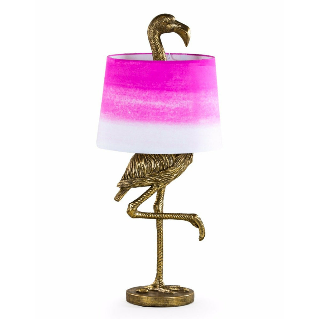 Antique Gold Flamingo Table Lamp with Pink & White Shade