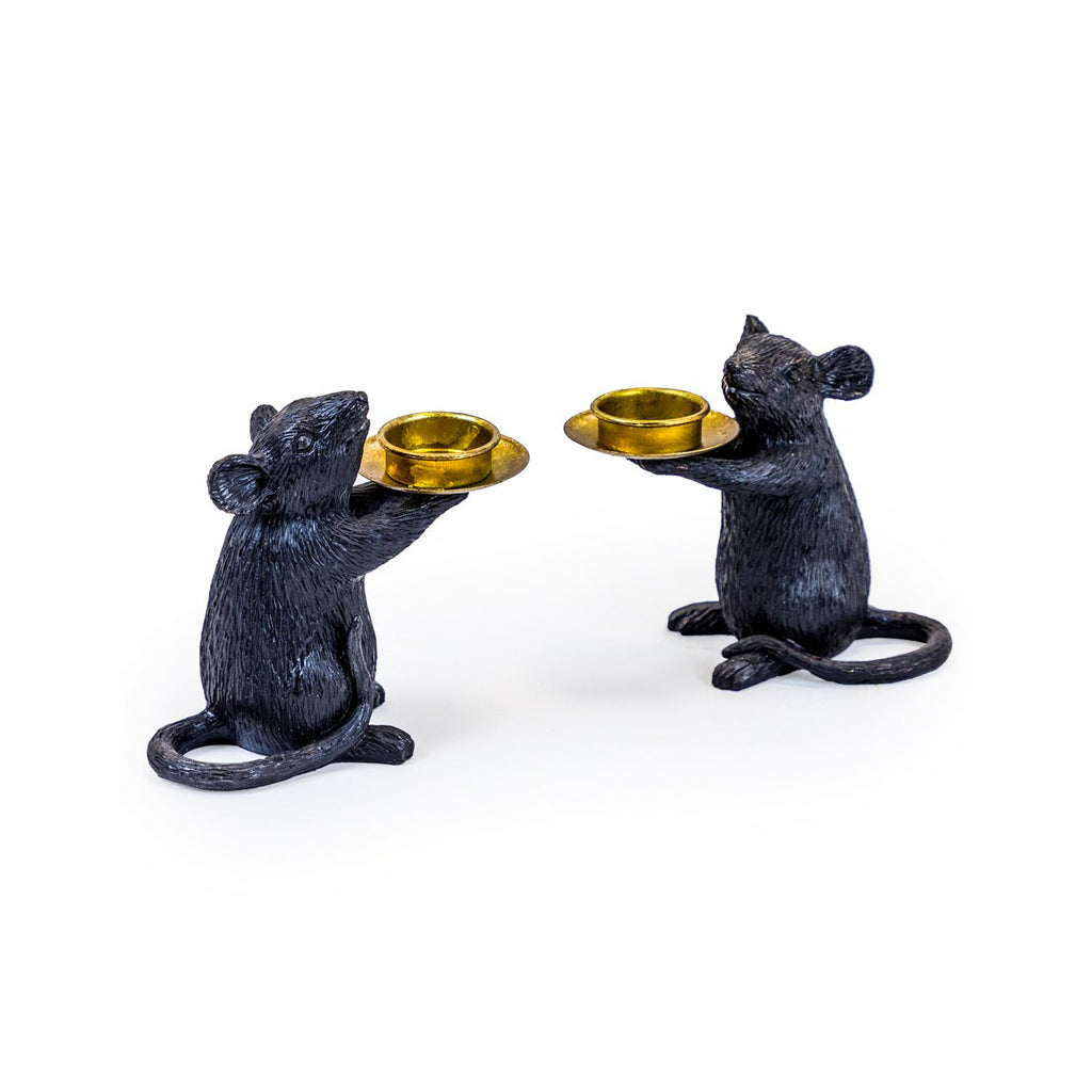 Pair of Black Mouse Candle Holders