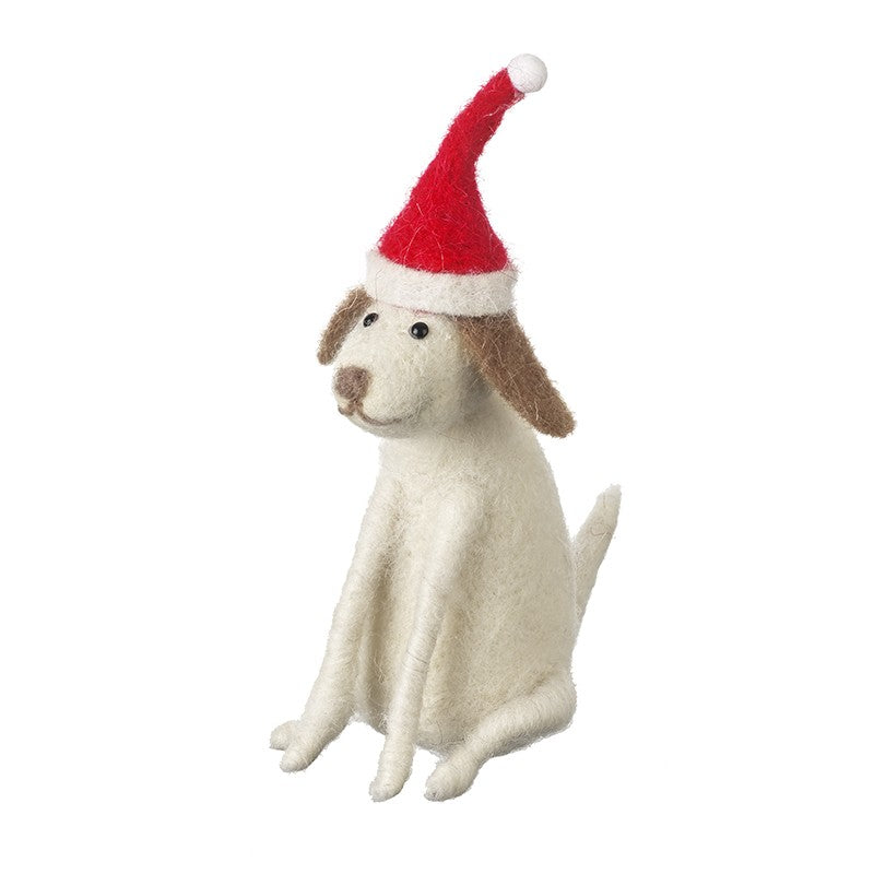 Sitting Dog With Christmas Hat