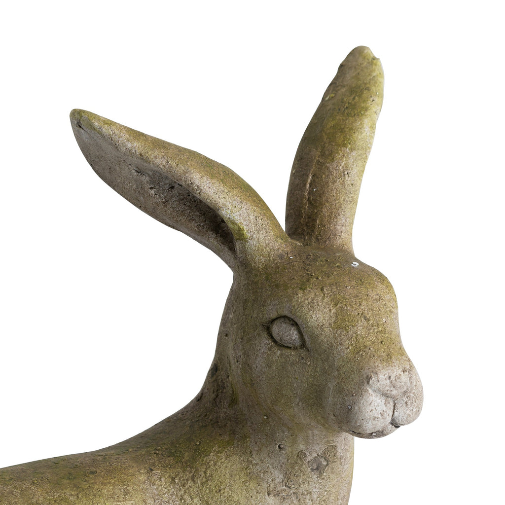 Resting Hare Outdoor Aged Stone Ornament