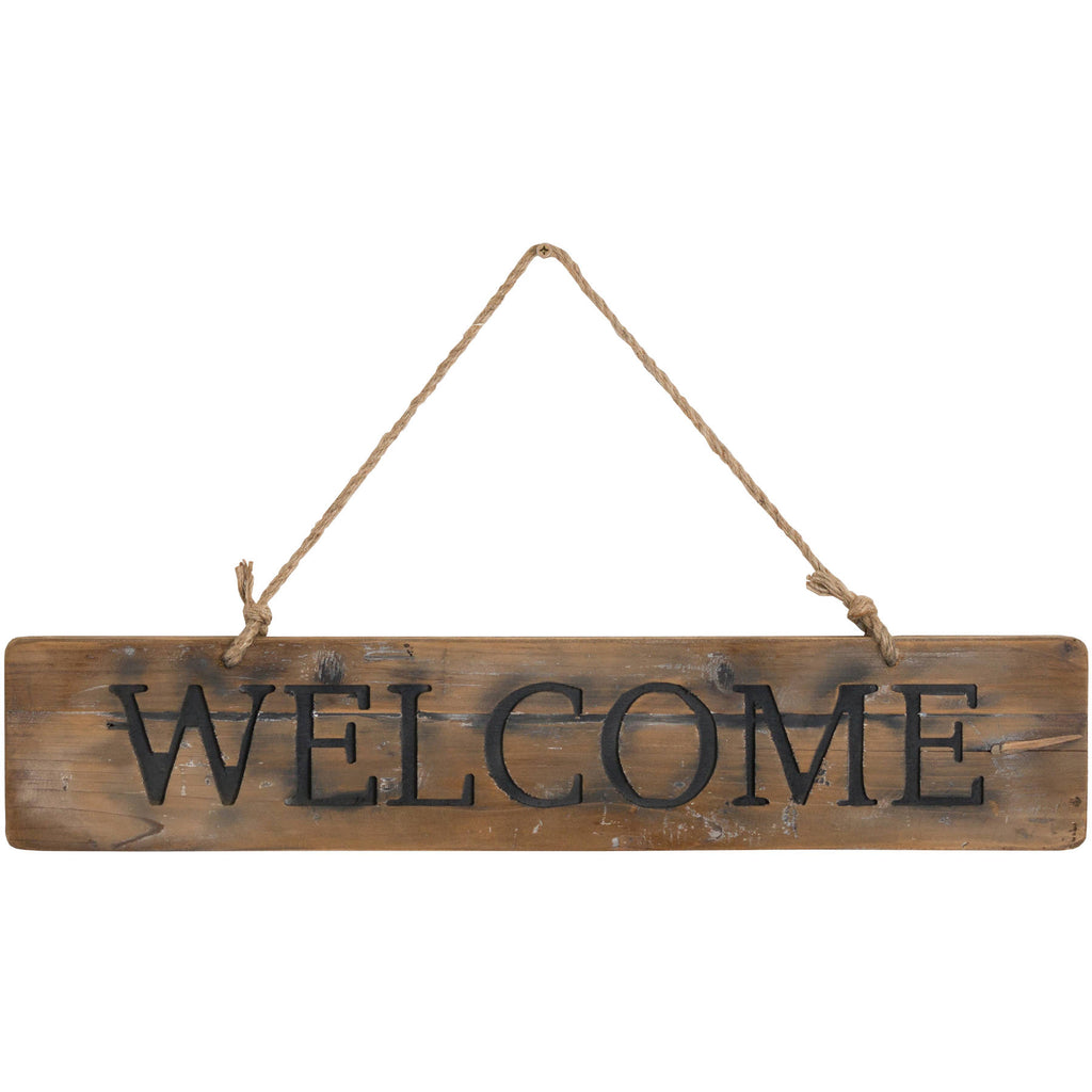 Welcome Rustic Wooden Message Plaque.