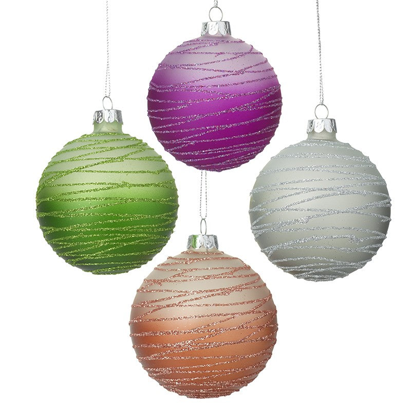 Set Of 4 Bright Coloured Baubles