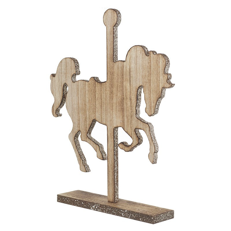 Standing Wooden Merry Go Round Horse.