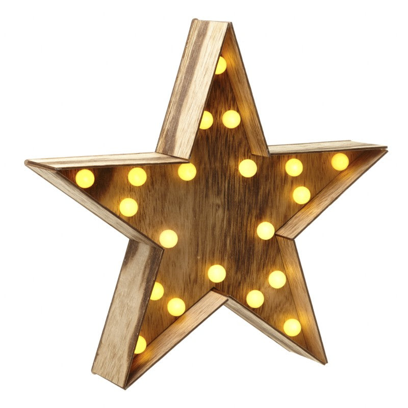 Wooden Star With Led Light