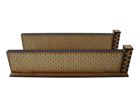28mm 1:56 Red Brick Walls (2 x straight pieces )