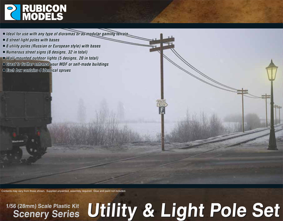 Any: Rubicon 28mm 1/56 : Utility & Light Pole Set (283004)