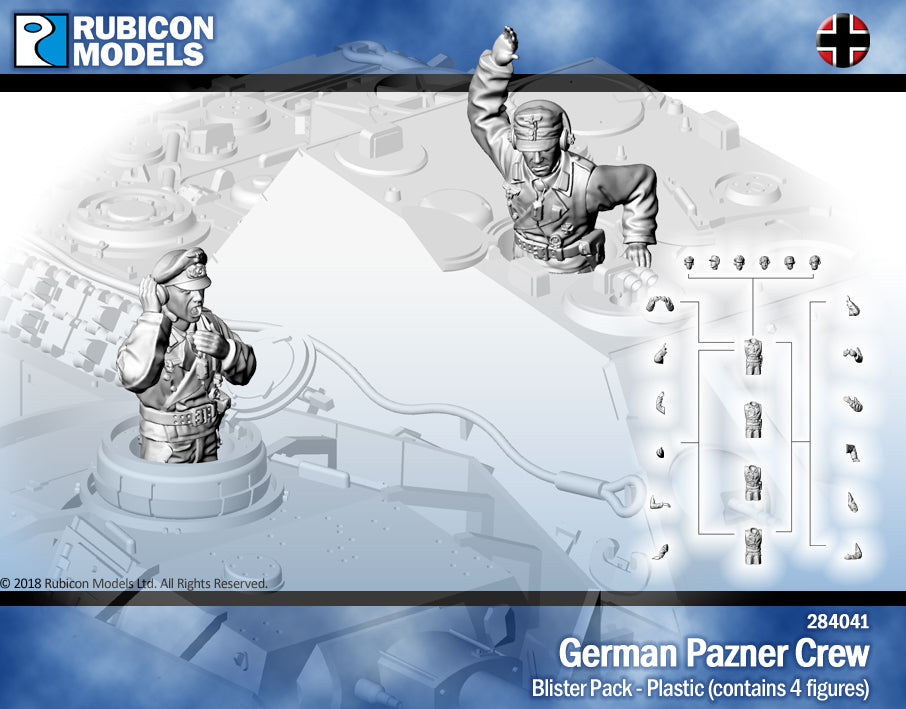 Axis : Rubicon 28mm 1/56 : German Panzer Crew : 4 figures (284041)