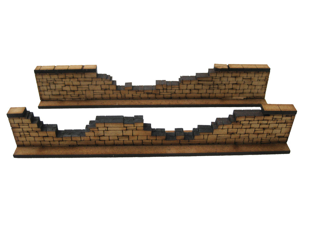 28mm 1:56 Stone Walls (2 x heavily damaged pieces)