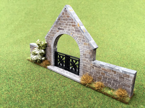 28mm 1:56 Stone Wall Arched Gate