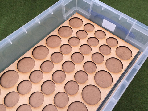 Storage Tray B&B (Box liner tray for 42 models) on 30mm & 40mm round bases (may suit Burrows and Badgers miniatures)
