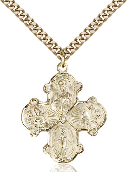 Four-Way Medal - Gold Filled Medal & Gold Plated Chain