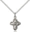 First Communion Five-Way Medal - Sterling Silver Medal & Chain