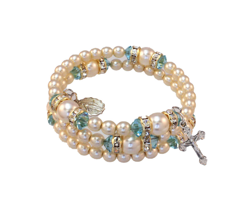 Birthstone Pearl and Rondelle Spiral Rosary Bracelet - Aquamarine - March