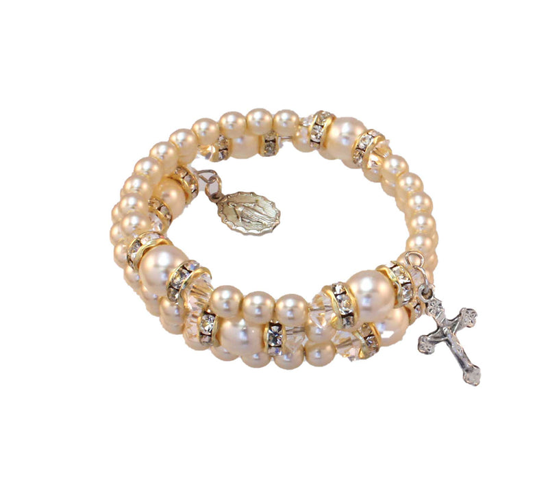 Birthstone Pearl and Rondelle Spiral Rosary Bracelet - Crystal - April
