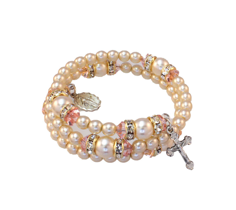 Birthstone Pearl and Rondelle Spiral Rosary Bracelet - Rose Zircon - October