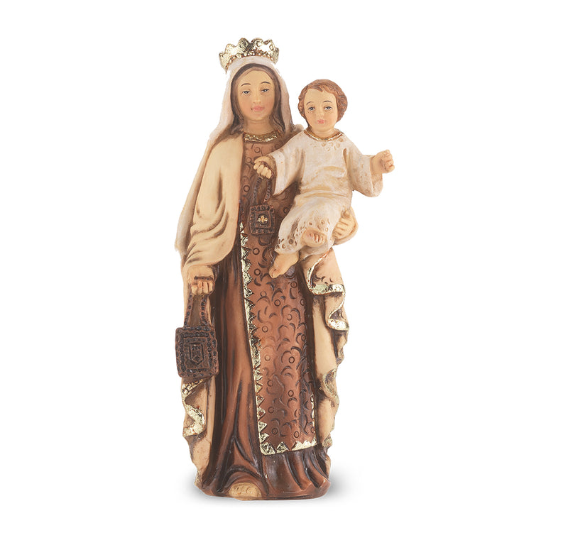 "4"" Our Lady of Mt. Carmel Statue with Gold Accents"