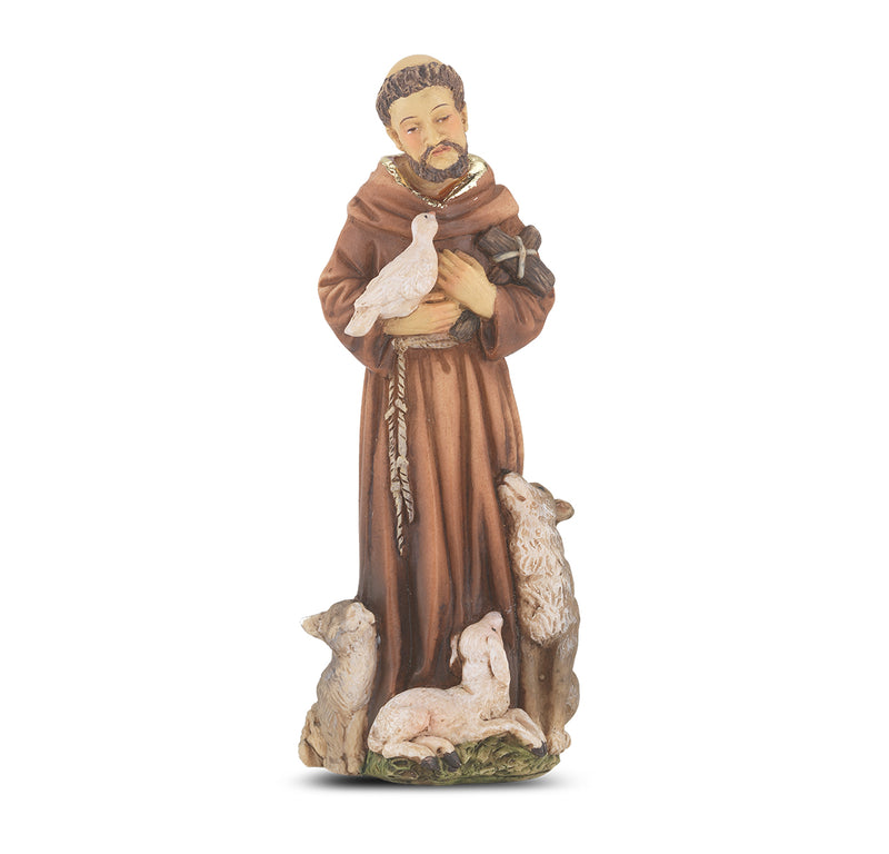 "4"" St. Francis of Assissi Statue with Gold Accents"
