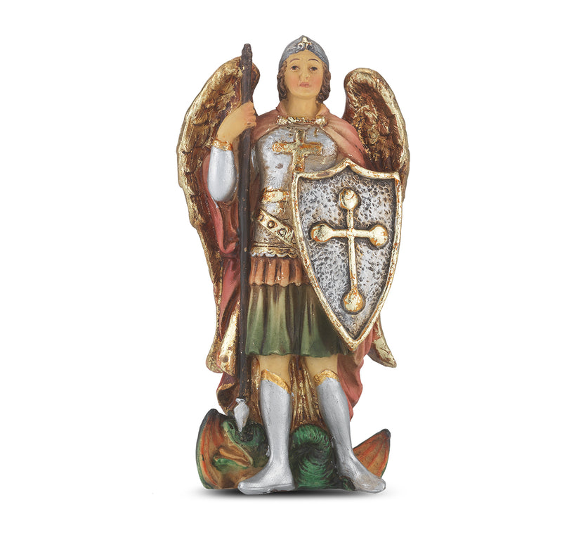 "4"" St. Michael Statue with Gold Accents"