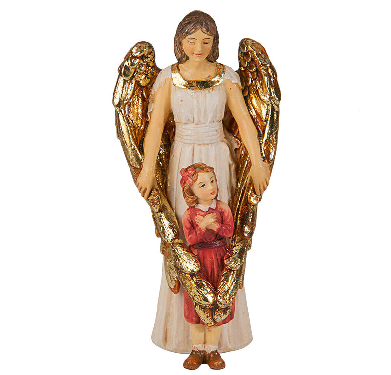 "4"" Guardian Angel with Girl Statue with Gold Accents"