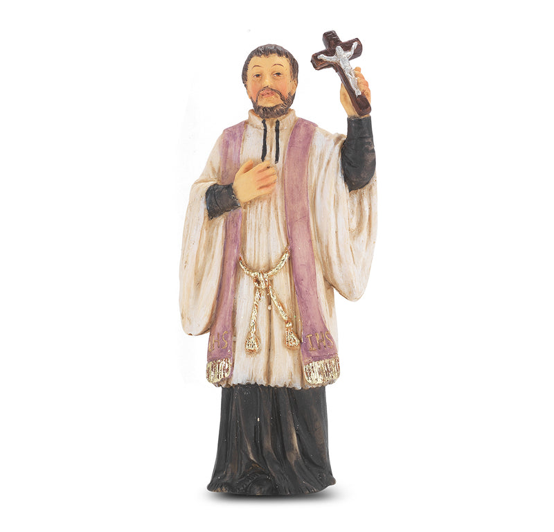 "4"" St. Francis Xavier Statue with Gold Accents"