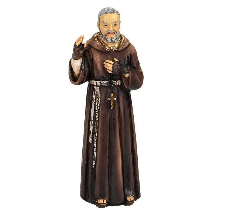"4"" St. Pio Statue with Gold Accents"