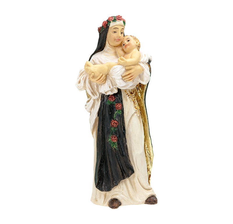 "4"" St. Rose of Lima Statue with Gold Accents"
