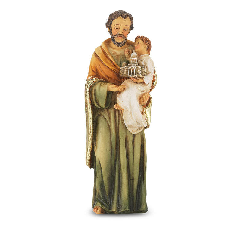 "4"" St. Joseph Statue with Gold Accents"