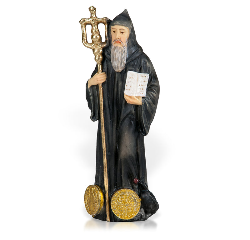 "4"" St. Benedict Statue with Gold Accents"