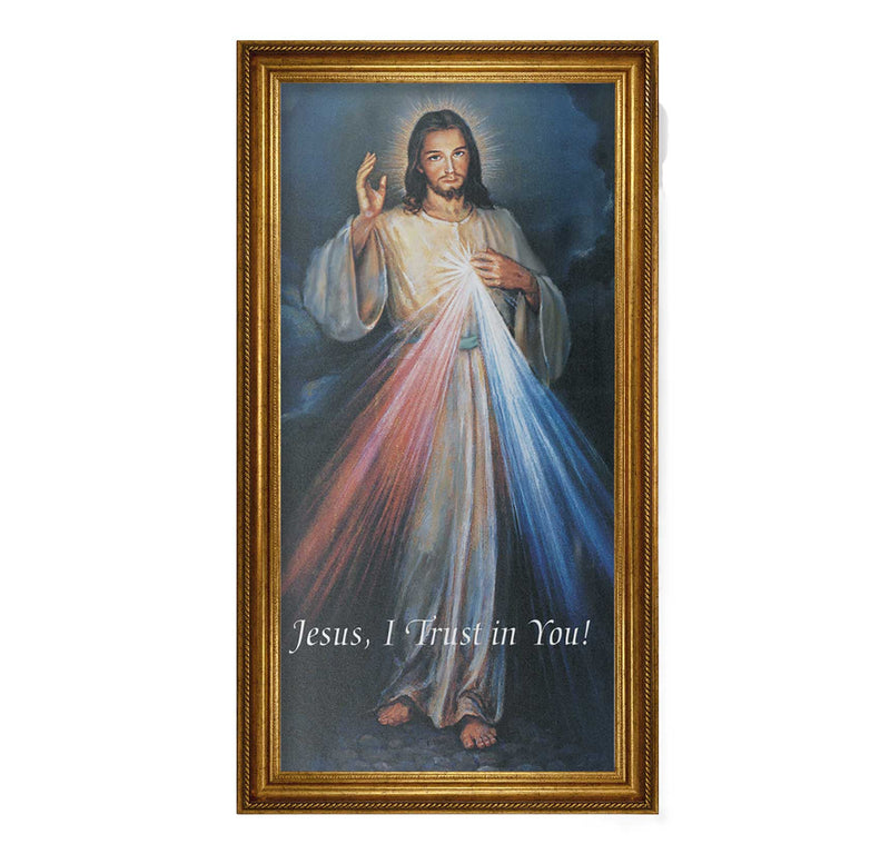 "Divine Mercy Framed Fine Art Canvas Print - 19"" x 39"" (2 Frame Options)"