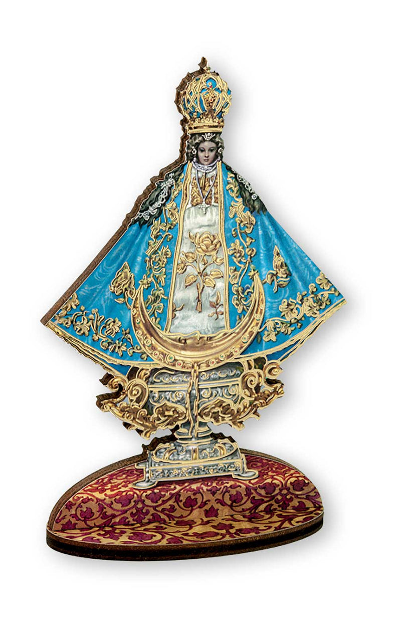 "Virgin de San Juan 6"" Gold Foil Laser Cut Wooden Statue"