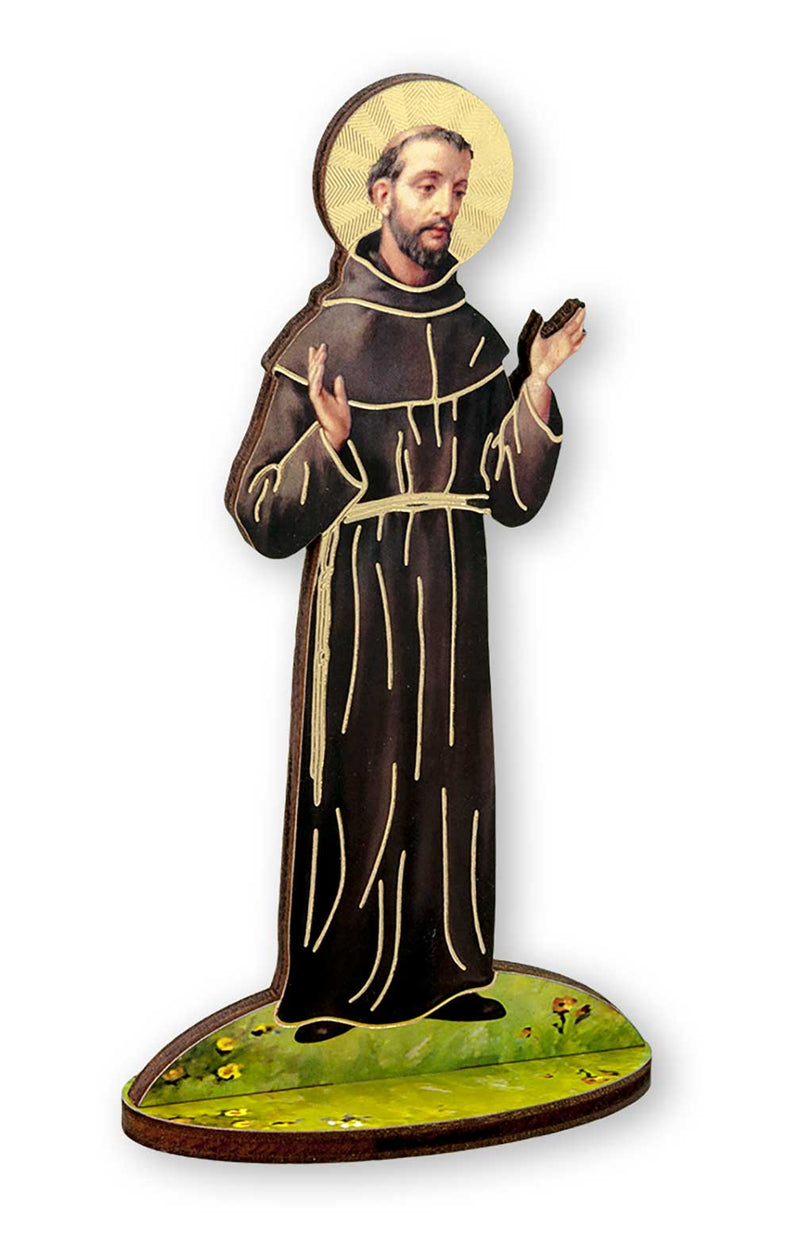 "St. Francis of Assisi 6"" Gold Foil Laser Cut Wooden Statue"