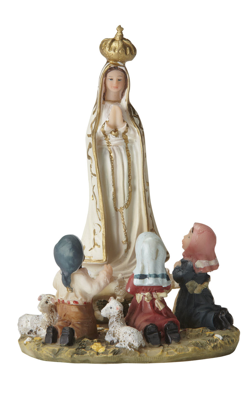 Our Lady of Fatima with Children Statue - Color - 5.5""