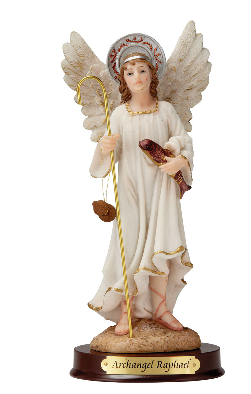 "Archangel Raphael Statue - Color - 8"" or 12"""