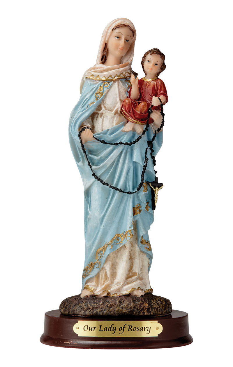 Our Lady of the Rosary Statue - Color - 8""