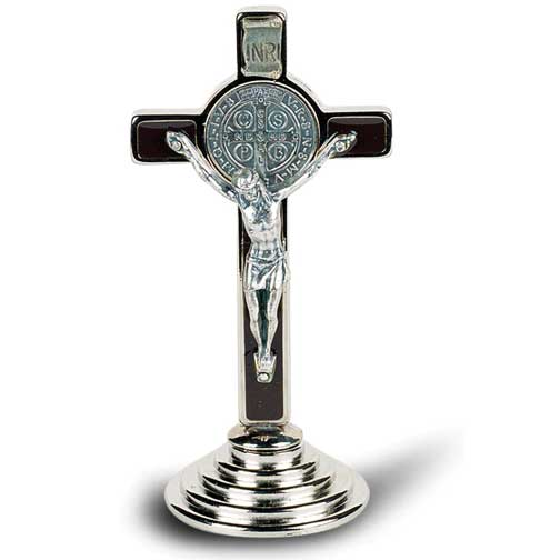 "3"" Black Enamel St. Benedict Cross on Base"