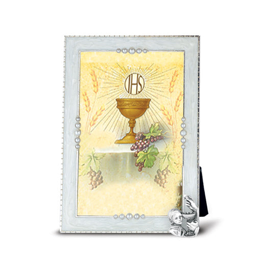 "4"" x 6"" Silver Plated Communion Photo Pearlized Frame (Boys)"