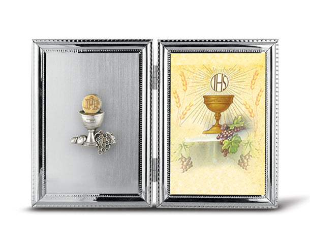"5"" x 7"" (10.5"" x 7"" Open) Double Hinged Communion Remembrance Photo Frame"