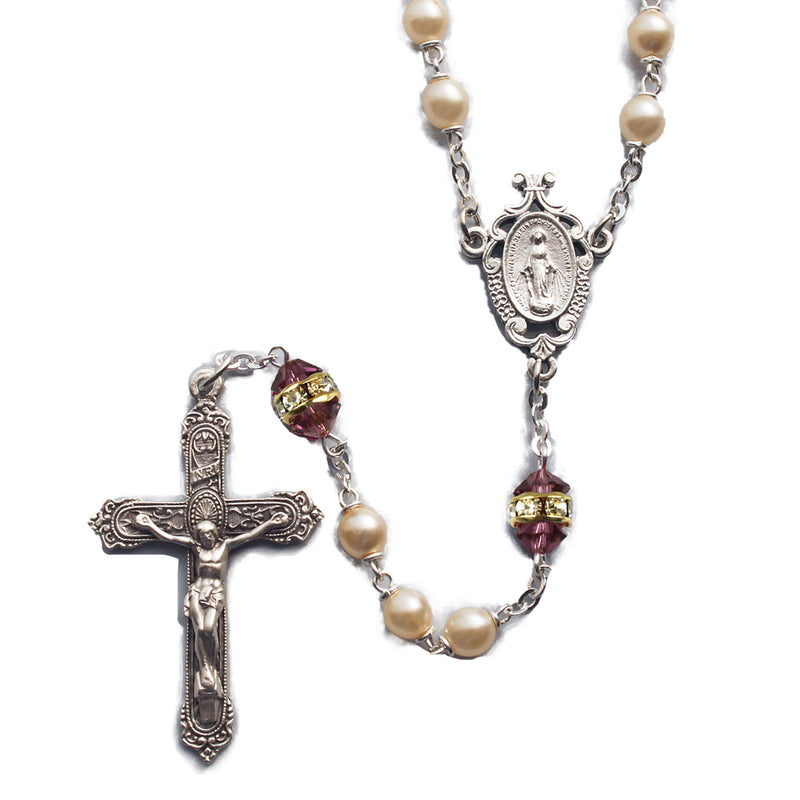 Birthstone Pearl and Rondelle Rosary - Amethyst - February