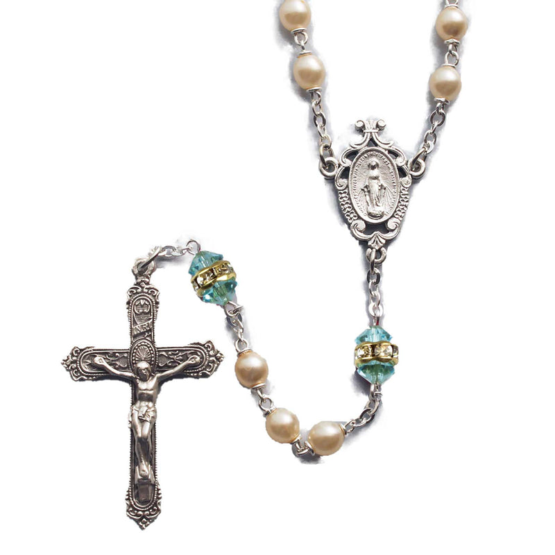 Birthstone Pearl and Rondelle Rosary - Aquamarine - March