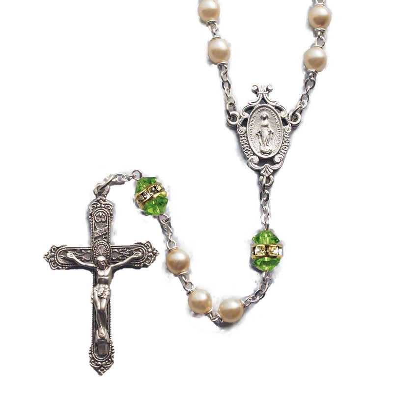 Birthstone Pearl and Rondelle Rosary - Peridot - August
