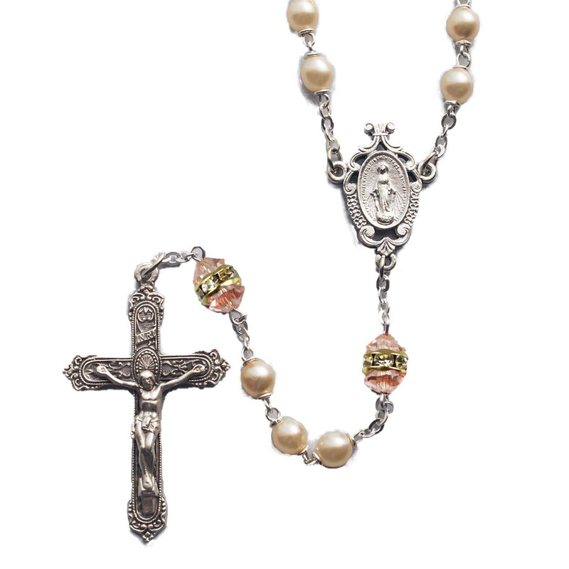 Birthstone Pearl and Rondelle Rosary - Rose Zircon - October