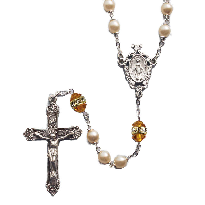 Birthstone Pearl and Rondelle Rosary - Topaz - November