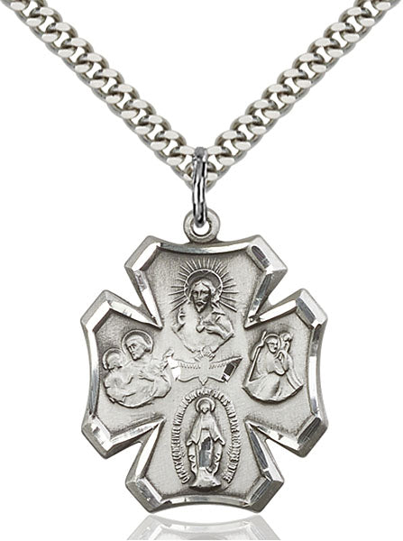 Five-Way Medal - Sterling Silver Medal & Rhodium Chain