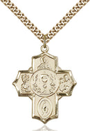First Communion Five-Way Medal - Gold Filled Medal & Gold Plated Chain
