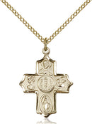 First Communion Five-Way Medal - Gold Filled Medal & Chain