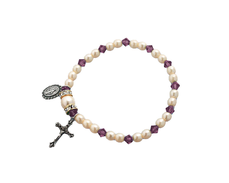 Birthstone Pearl and Rondelle One Decade Stretch Bracelet - Amethyst - February