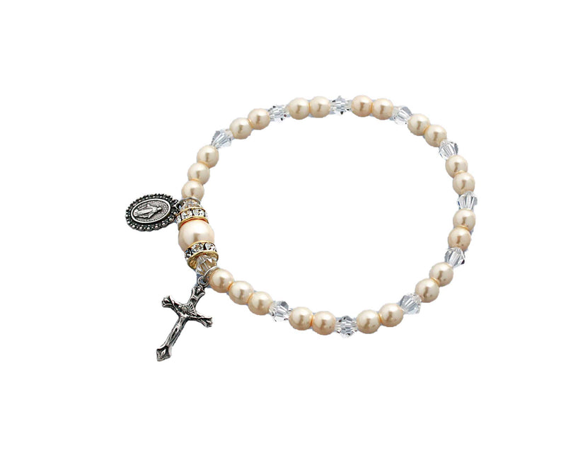 Birthstone Pearl and Rondelle One Decade Stretch Bracelet - Crystal - April
