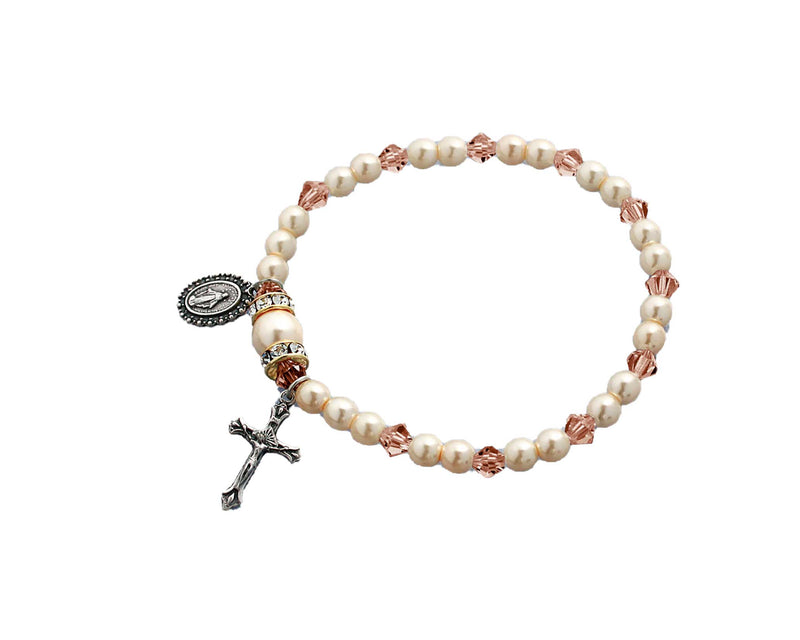 Birthstone Pearl and Rondelle One Decade Stretch Bracelet - Rose Zircon - October