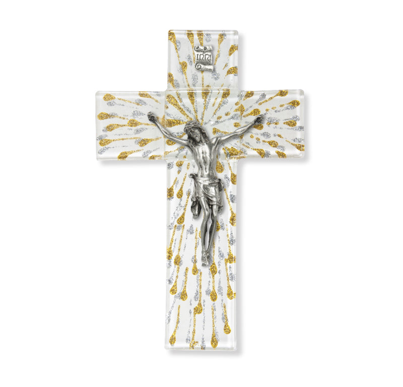 "7"" Shimmering Silver & Gold Glass Communion Cross"