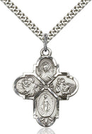 Four-Way Medal - Sterling Silver Medal & Rhodium Chain